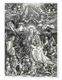 Póster The Virgin and Child surrounded by angels