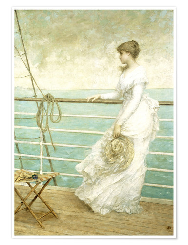 Póster Lady on the Deck of a Ship