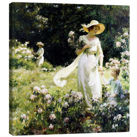 Lienzo  Among the Laurel Blossoms - Charles Courtney Curran