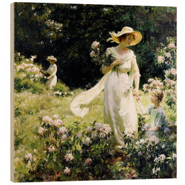 Cuadro de madera  Among the Laurel Blossoms - Charles Courtney Curran