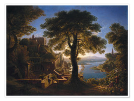 Póster  Castle on the River - Karl Friedrich Schinkel