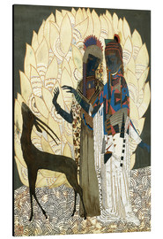 Cuadro de aluminio  Two stylized women with an antelope and foliage - Jean Dunand