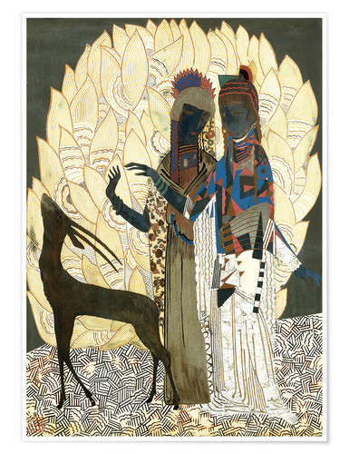 Póster Two stylized women with an antelope and foliage