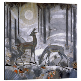 Cuadro de aluminio  Two deer in the woods - Jean Dunand