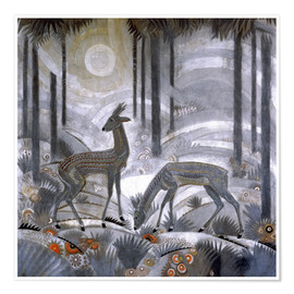Póster  Two deer in the woods - Jean Dunand