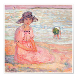 Póster Woman in the Pink Dress by the Sea