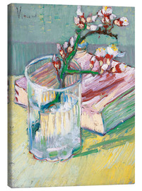 Lienzo  Flowering almond branch in a glass with a book - Vincent van Gogh