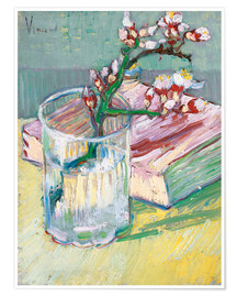 Póster  Flowering almond branch in a glass with a book - Vincent van Gogh
