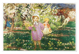 Póster Children in an Orchard in Blossom