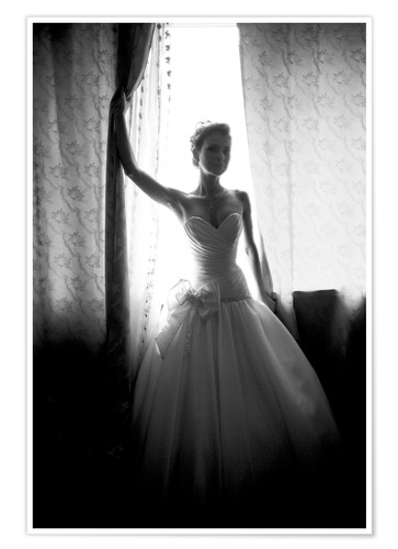 Póster Black and white silhouette of bride