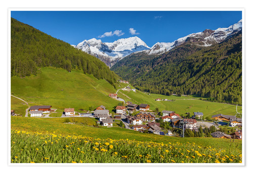 Póster Idyllic mountain village Rein in Taufers in South Tyrol