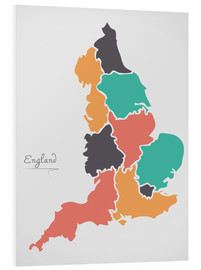 Cuadro de PVC  England map modern abstract with round shapes - Ingo Menhard