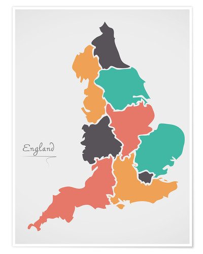 Póster England map modern abstract with round shapes