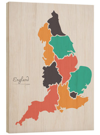 Cuadro de madera  England map modern abstract with round shapes - Ingo Menhard