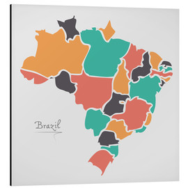 Cuadro de aluminio  Brazil map modern abstract with round shapes - Ingo Menhard