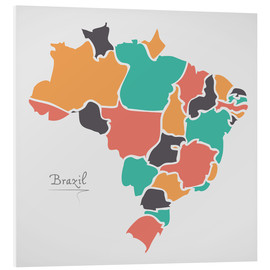 Cuadro de PVC  Brazil map modern abstract with round shapes - Ingo Menhard