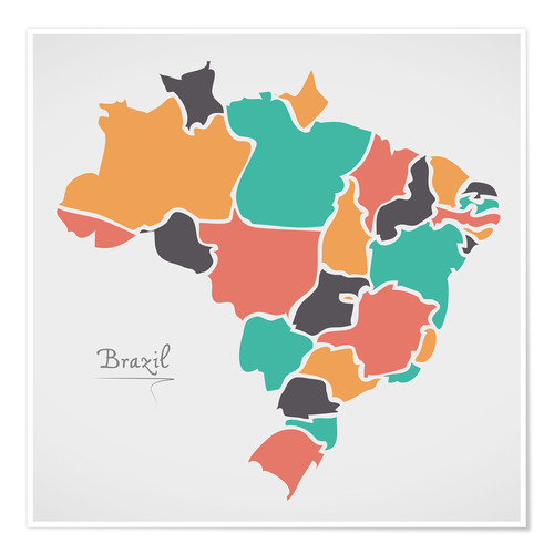 Póster Brazil map modern abstract with round shapes