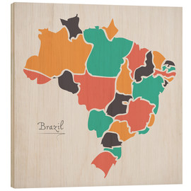 Cuadro de madera  Brazil map modern abstract with round shapes - Ingo Menhard