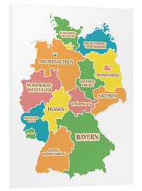 Cuadro de PVC  Germany map with labels for learning children - Ingo Menhard