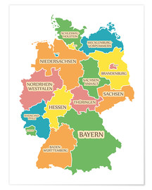 Póster  Germany map with labels for learning children - Ingo Menhard