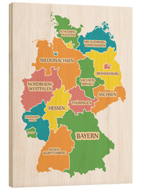 Cuadro de madera  Germany map with labels for learning children - Ingo Menhard