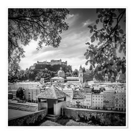 Póster SALZBURG Gorgeous Old Town with Citywall   Monochrome