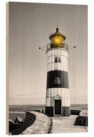 Cuadro de madera  Lighthouse with yellow light