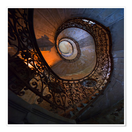 Póster Spiral ornamented staircase