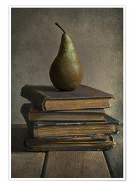 Póster Still life with books and pear