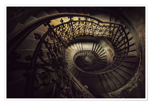 Póster Spiral staircase in brown