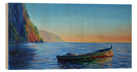 Cuadro de madera  base of petit piton with gommier boat - Jonathan Guy-Gladding
