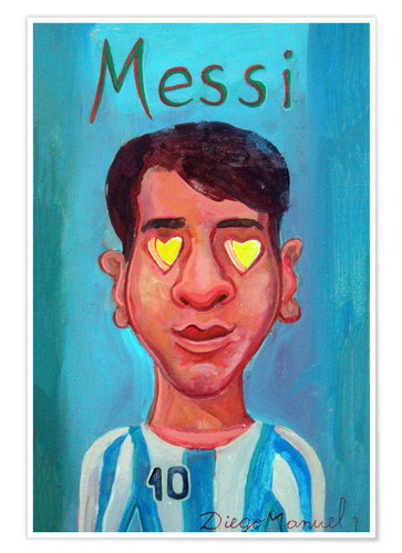 Póster Messi and heart