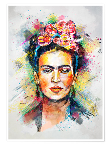 Póster Frida Flower Pop