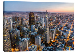 Lienzo  Aerial of San Francisco downtown at dusk, USA - Matteo Colombo