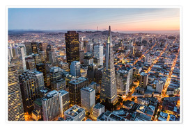 Póster Aerial of San Francisco downtown at dusk, USA