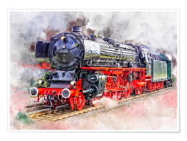 Póster  Train Locomotive Deutsche Reichsbahn for the express service class 01 - Peter Roder