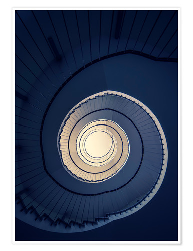 Póster Spiral Staircase in blue colors