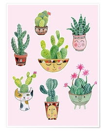 Póster  funny succulents - Janet Broxon