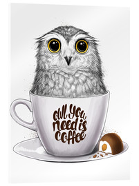 Cuadro de metacrilato  Owl you need is coffee - Nikita Korenkov