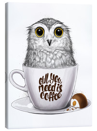 Lienzo  Owl you need is coffee - Nikita Korenkov