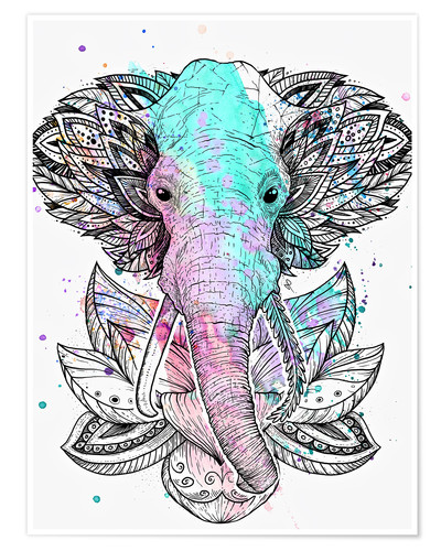 Póster Elephant in the lotus