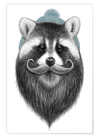 Póster  Bearded raccoon - Nikita Korenkov