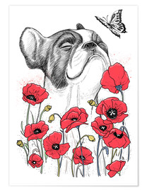 Póster Pug in flowers
