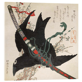 Cuadro de metacrilato  The Little Raven with the Minamoto clan sword - Katsushika Hokusai