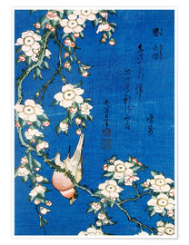Póster  Bullfinch and weeping cherry - Katsushika Hokusai