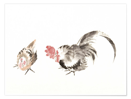 Póster Rooster and hen