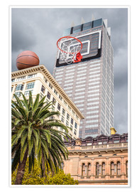Póster Basketball hoop on skyscraper