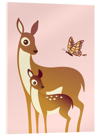 Metacrilato  Mom And Baby Deer With Butterfly - Ashley Verkamp