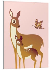 Cuadro de aluminio  Mom And Baby Deer With Butterfly - Ashley Verkamp
