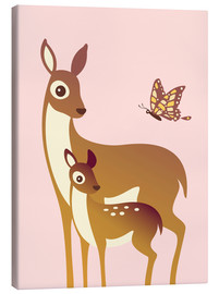 Lienzo  Mom And Baby Deer With Butterfly - Ashley Verkamp